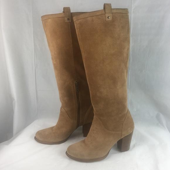 UGG Ava Chestnut Tall Suede Sheepskin Heels Boots